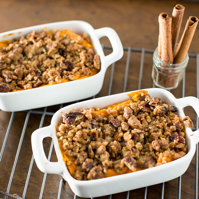Sweet Potato Casserole With Brown Sugar Glazed Pecans