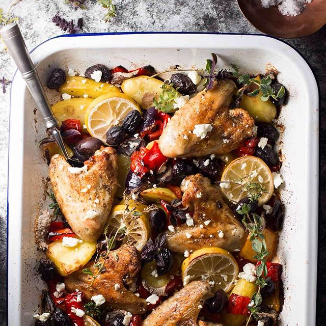 Greek Chicken Sheet Pan Dinner With Sweet Peppers, Olives & Feta