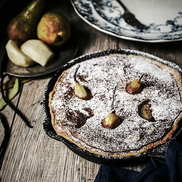 Poached Pear Brownie Tart With Amaretto