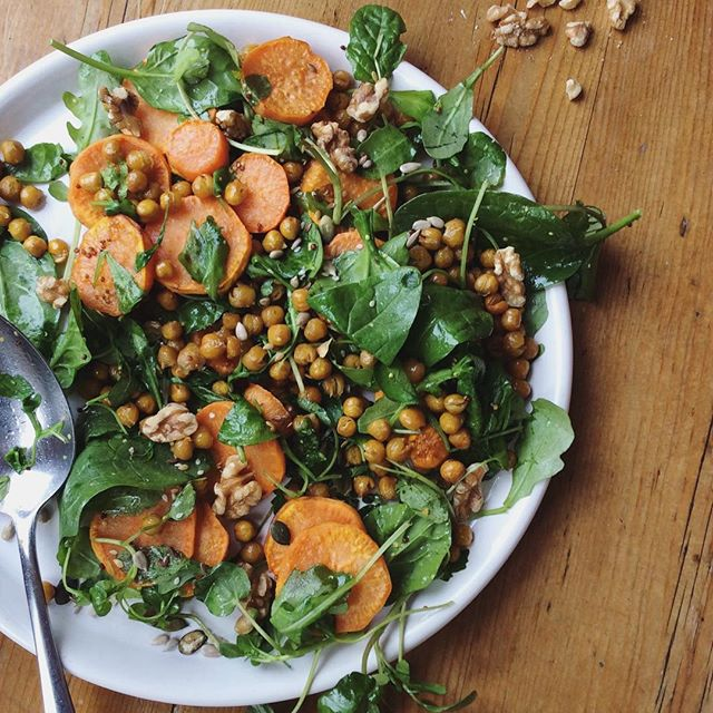 Roasted Chickpea, Sweet Potato And Walnut Salad With Lemon And Mustard Dressing