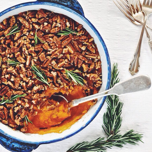 Sweet Potato Smash With Pecan & Rosemary Topping