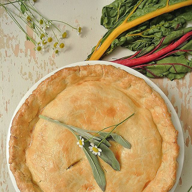 Rainbow Chard & Sage Chicken In Homemade Pie Crust