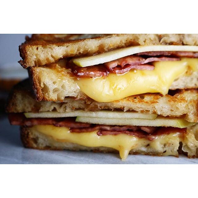 Grilled Cheese With Gouda, Turkey Bacon And Fig Jam