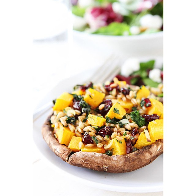 Stuffed Portobello Mushrooms with Farro, Butternut Squash, and Kale today!