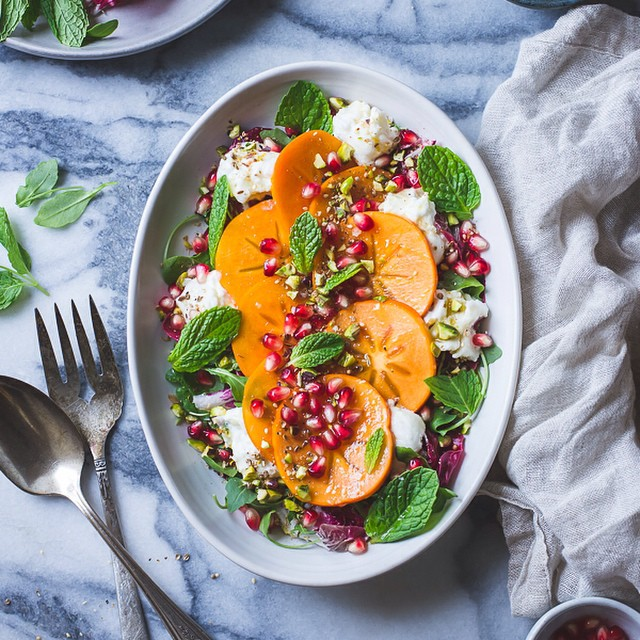 Persimmons And Chicory Salad With Pomegranate, Burrata And Pistachio Dukkah