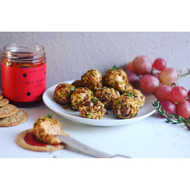 Red Pepper Goat Cheese Truffles with Pistachio crust. Perfect for happy hour