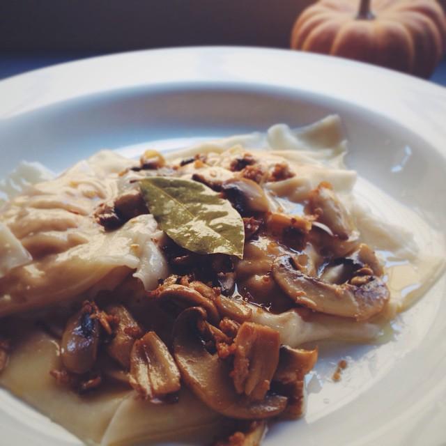 Two-cheese Pumpkin Ravioli With Mushroom Garlic Butter