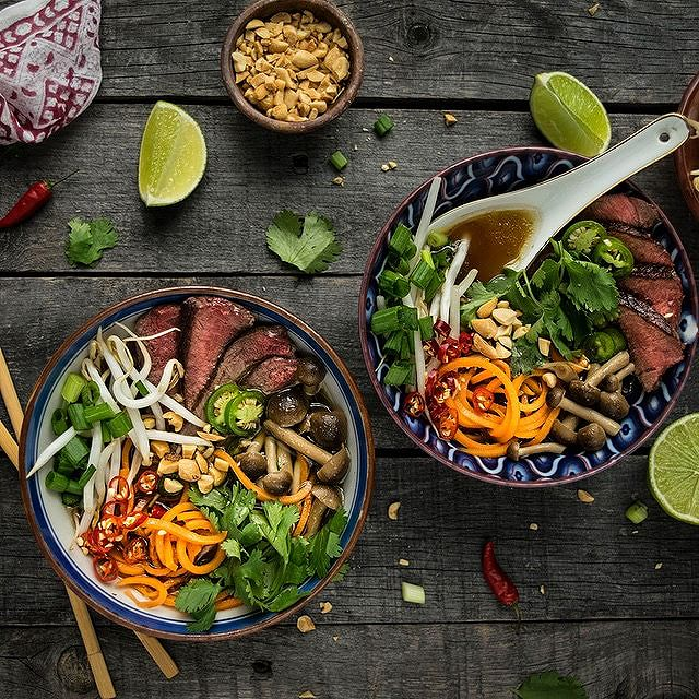 Spicy Beef Pho With Beech Mushrooms And Sweet Potato Noodles