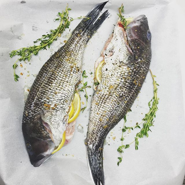 Whole Roasted Black Sea Bass with Lemon and Herbs