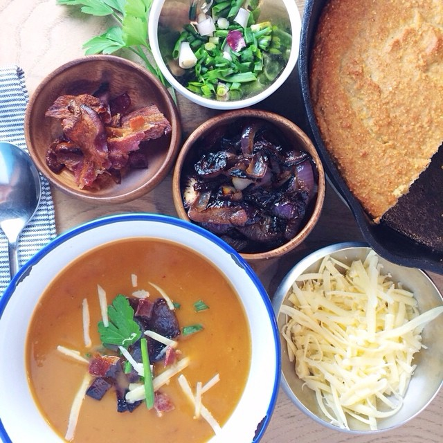 Last night's Sweet Potato Soup Party featured caramelized onions, sharp cheddar, bacon, garden…
