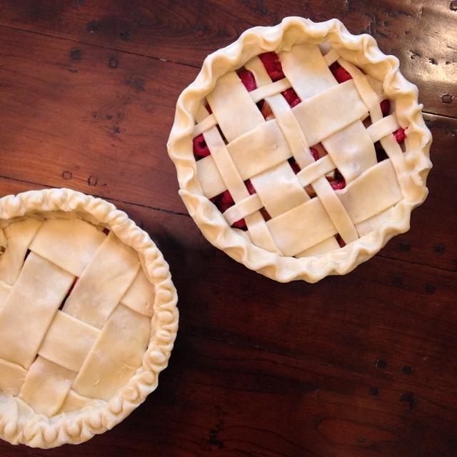 Rhubarb, Raspberry & Pear Pies