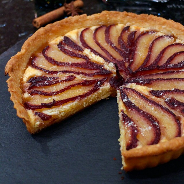 Red Wine Poached Pear & Amaretto Tart