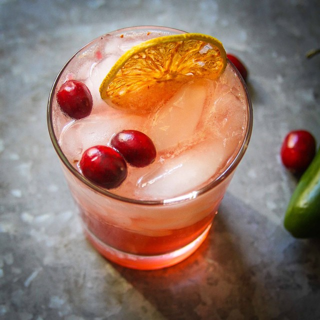 Spicy Cran-Cherry Ginger cocktail made with Commonwealth Gin distilled in Richmond, VA.
