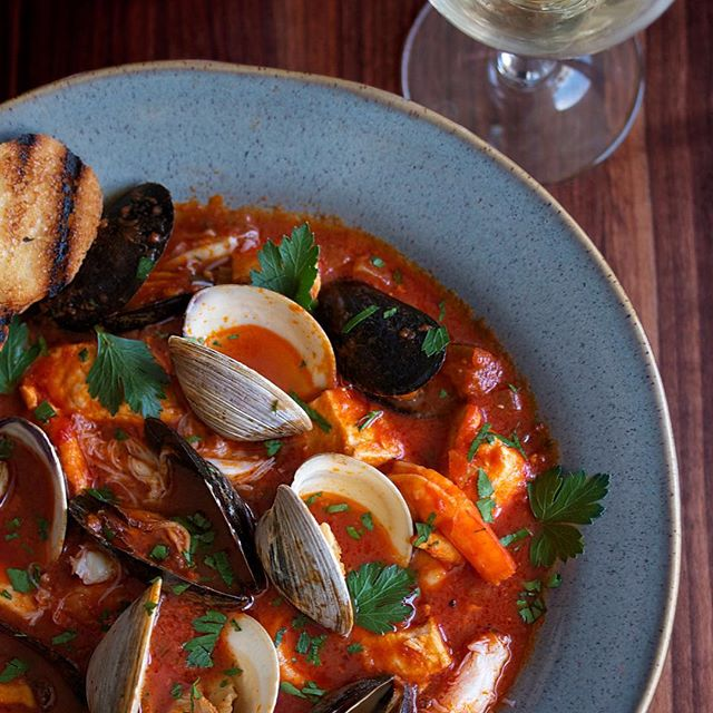 Seafood Stew With Swordfish, Halibut, Crab, Shrimp, Mussels, Clams Served With Bread