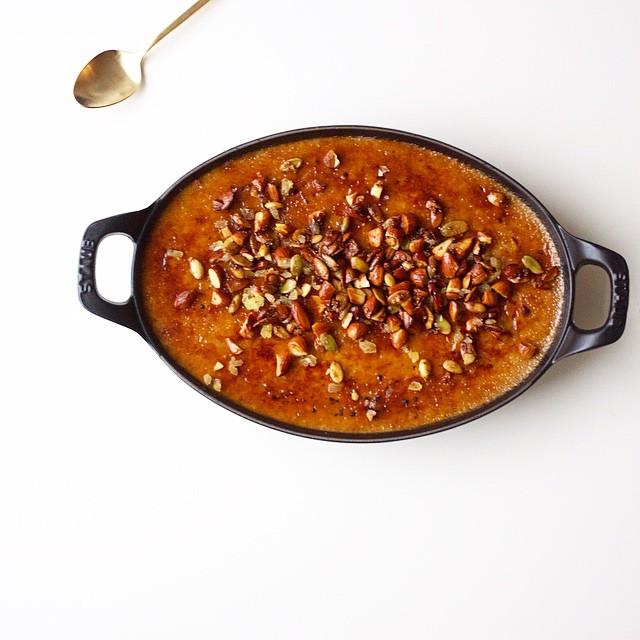 Pumpkin Creme Brûlée With A Candied Nut Topping & Spices: Cinnamon, Allspice, Clove, Nutmeg