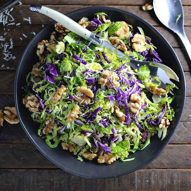 Brussel Sprouts & Red Cabbage Walnut Salad