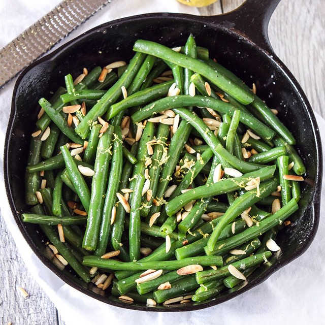 Brown Butter Green Beans With Slivered Almonds & Lemon Zest