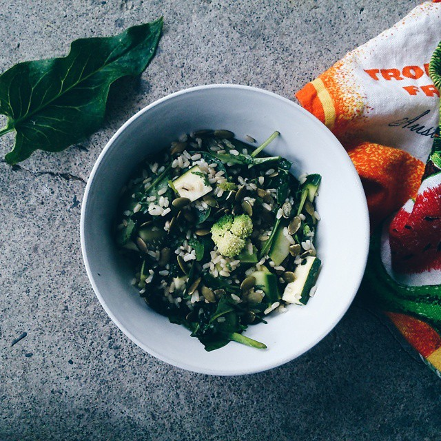 I have a lot of green in my life at the moment so tonight's dinner is a green rice salad!…