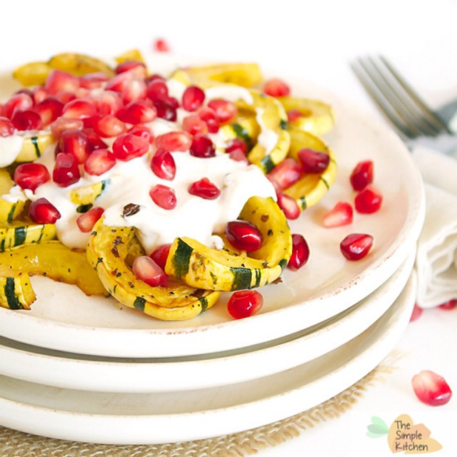 Delicata Squash With Cashew Cream And Pomegranate Seeds