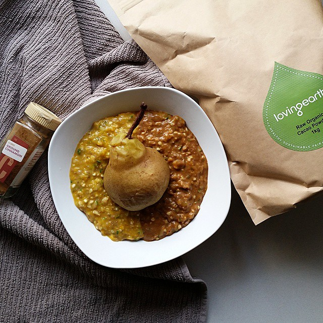 Pumpkin & Zucchini Oatmeal With Cacao, Cinnamon & Poached Pear
