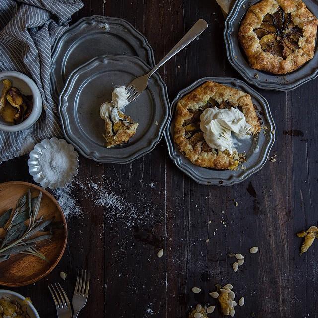 Acorn Squash & Hazelnut Frangipane Galettes With Vanilla Creme Fraiche