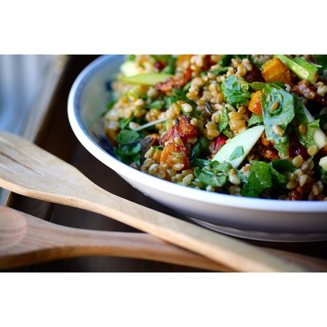 Roasted Butternut Squash  & Wheat Berry Salad With Warm Cider Vinaigrette