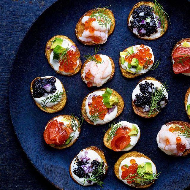 Roasted Baby Potatoes With Sour Cream, Salmon Roe, Smoked Salmon, Black Caviar, Shrimp, Avocado And Dill