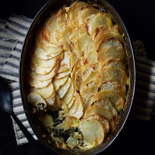 Celeriac, Potato And Chard Gratin