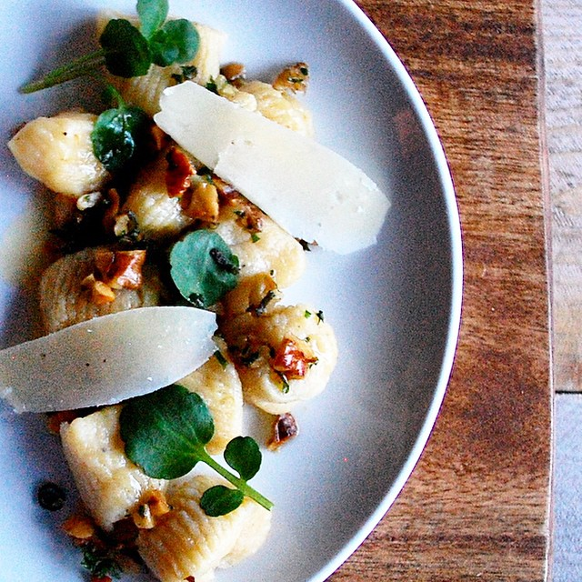 Pumpkin Gnocchi With Honey Brown Butter, Fried Walnut Gremolata, Parmesan & Watercress