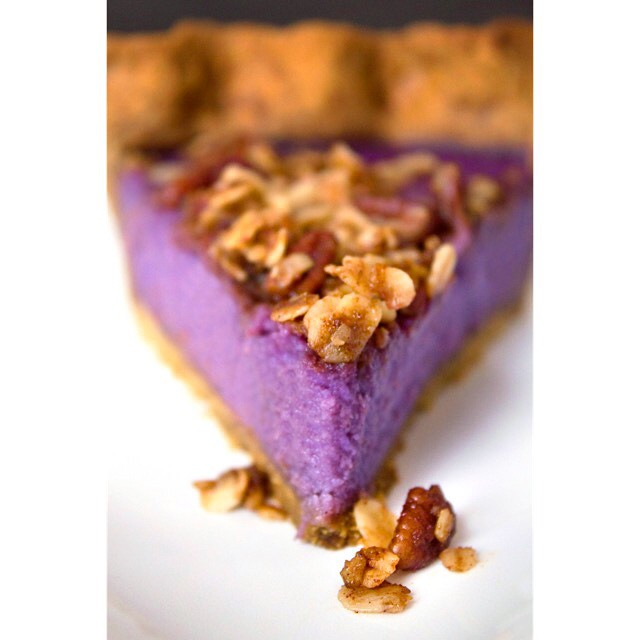 Used those purple sweet potatoes to make a this Purple Sweet Potato Pie with a Gingerbread Crust and…