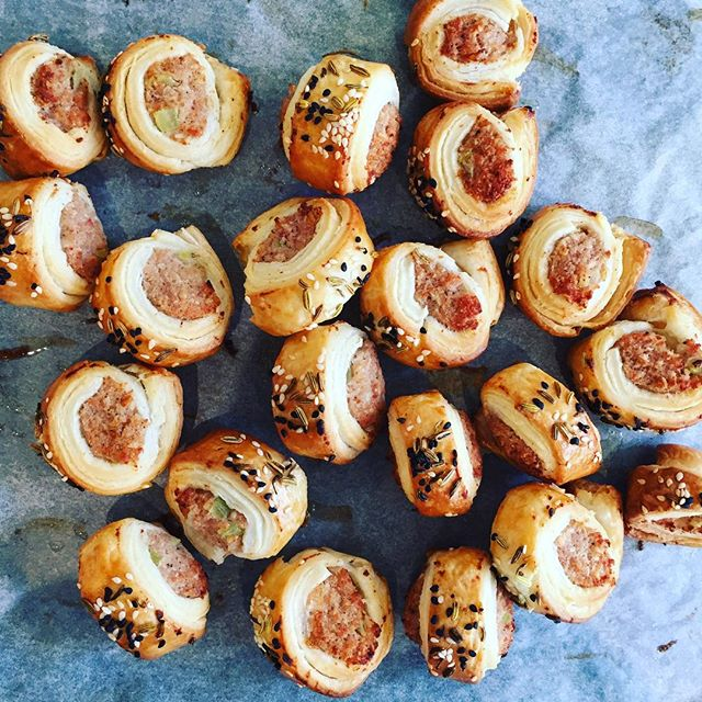 Rolling up a storm of these yummy bacon and fennel sausage rolls for this weekends canapé party…