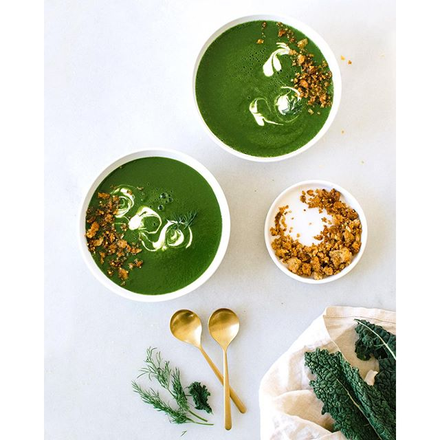 Greens Soup With Creme Fraiche & Garlic Caraway Breadcrumbs
