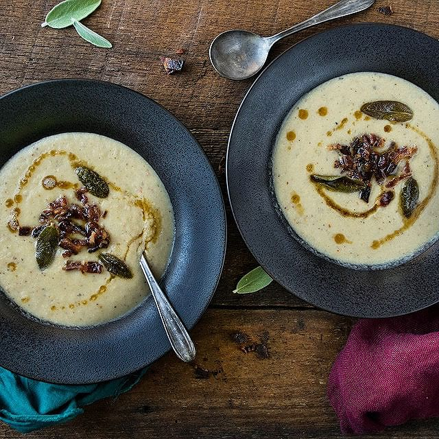Roasted Cauliflower & Leek Coconut Milk Soup With Maple Candied Bacon, Fried Sage & Brown Butter