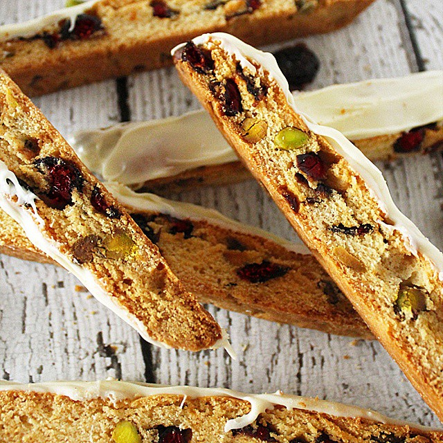 White Chocolate Dipped Cranberry & Pistachio Biscotti