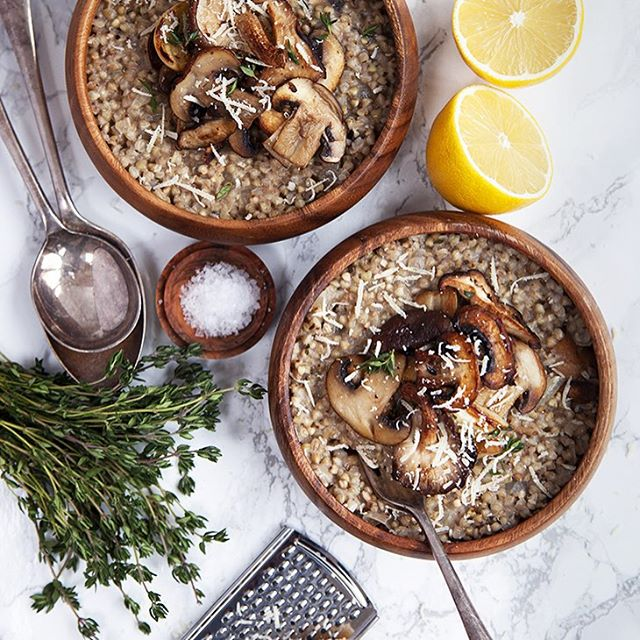 Mushroom And Garlic Buckwheat Risotto With Lemon And Parmesan