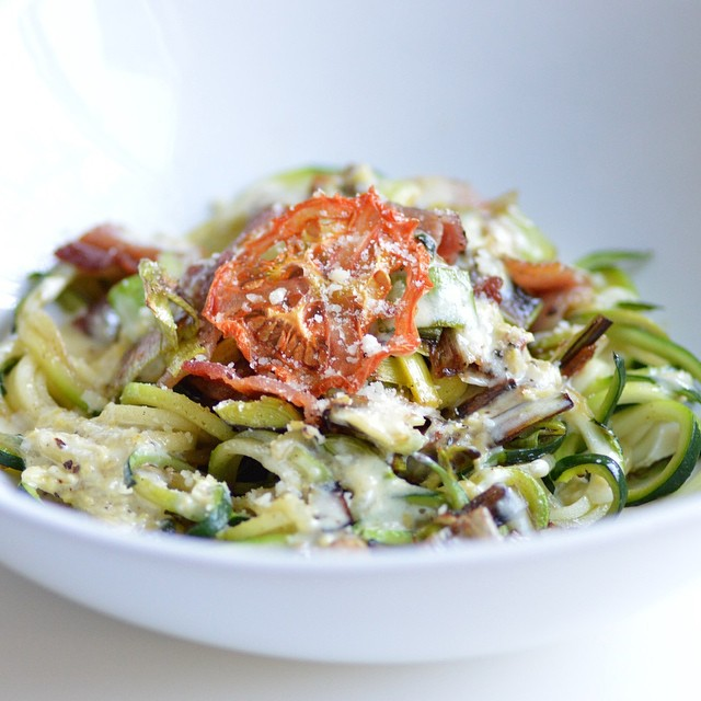 Zucchini Noodles With Bacon, Leeks And Lemon Cream Sauce