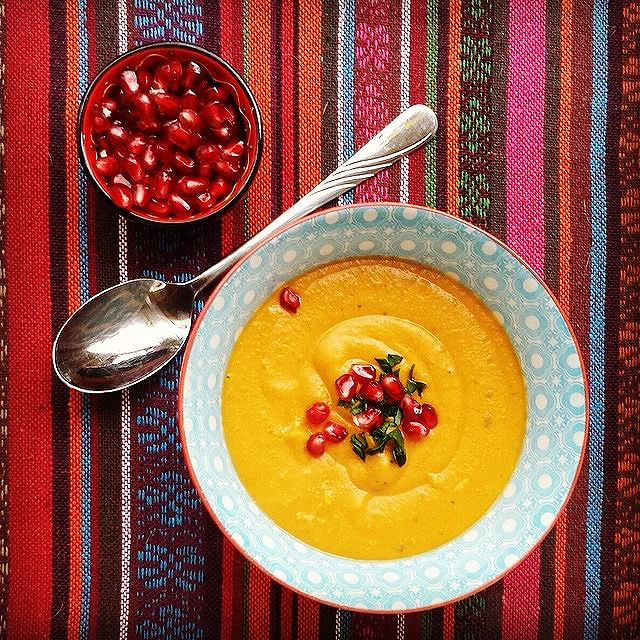 Creamy Roasted Butternut Squash Soup With Ginger & Cilantro Root