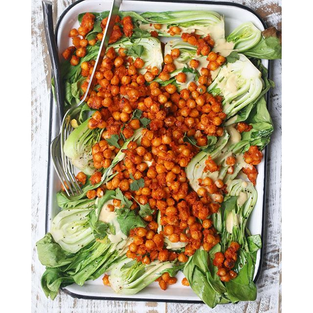 Sriracha Chaat Masala Chickpeas Over Bok Choy With Buttermilk Dressing