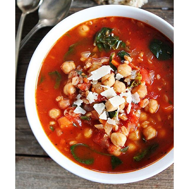 Chickpea, Farro And Spinach Soup