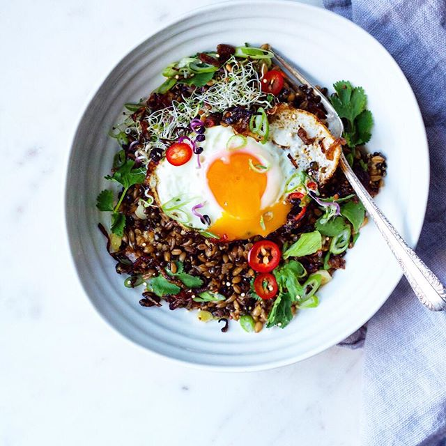 Lentil And Farro Salad With A Sesame Oil Fried Egg And Jalapeños