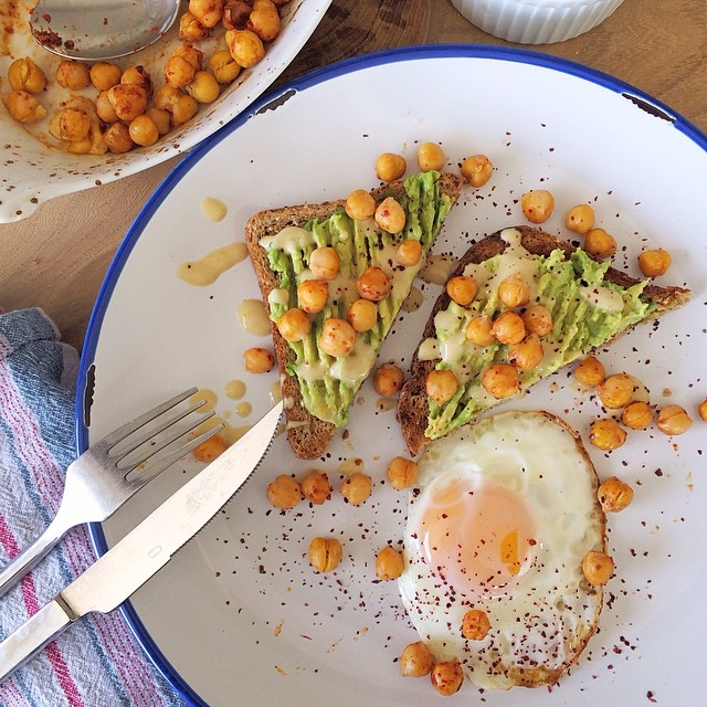 Mother's Day Breakfast With Fried Egg On Avocado, Whole Wheat Toast & Roasted Harissa  Chickpeas