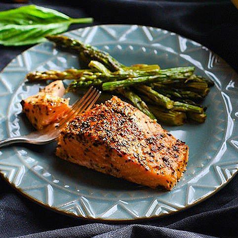 Garlic, Basil & Dill Roasted Salmon With Asparagus
