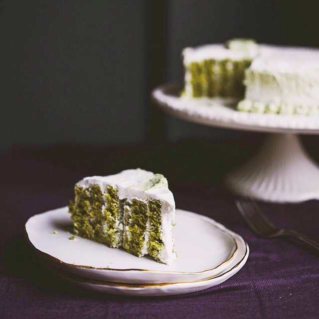 Vertical Matcha Roll Cake With Whipped Cream Frosting
