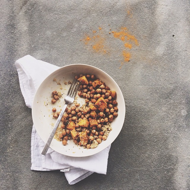 Za'atar Roasted Chickpeas & Butternut Squash On Lemongrass Rice With Miso Tahini