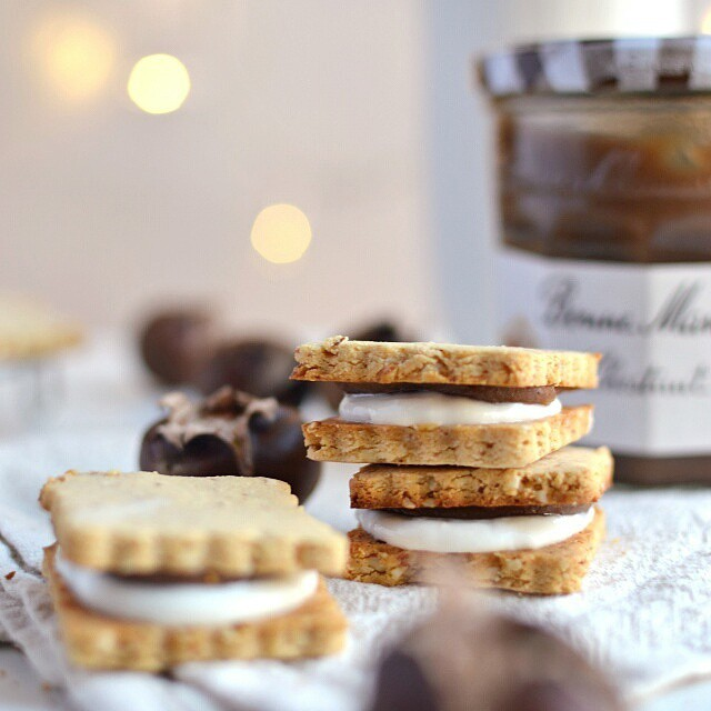 Mont Blanc Shortbread Cookies With Chestnut Spread And Coconut Cream