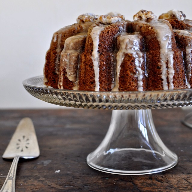 Olive Oil & Walnut Butternut Squash Bundt Cake With Cognac Glaze