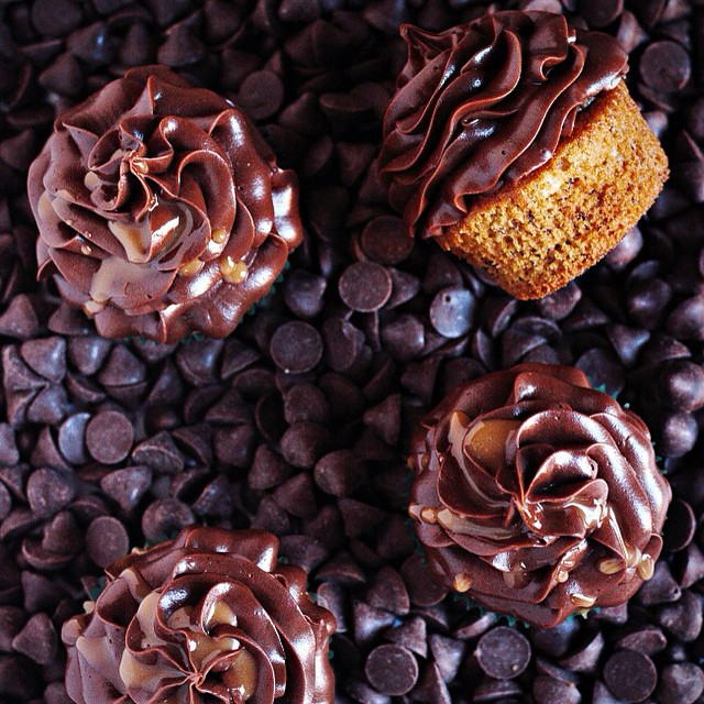 Banana Cupcakes With Caramel Chocolate Frosting