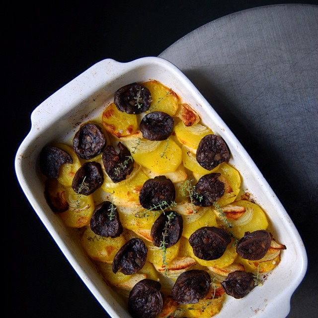 Potato, Apple And Black Pudding Gratin With Onions And Thyme