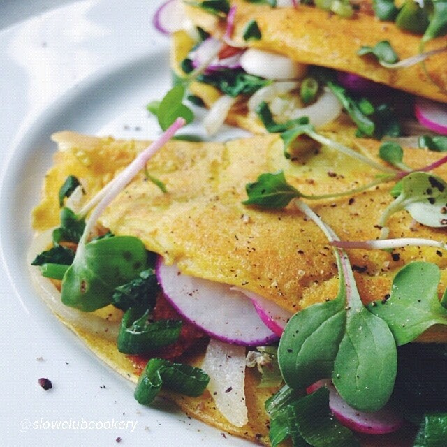 Chickpea Style Omelette With Wilted Radish Greens & Caramelized Sweet Onions