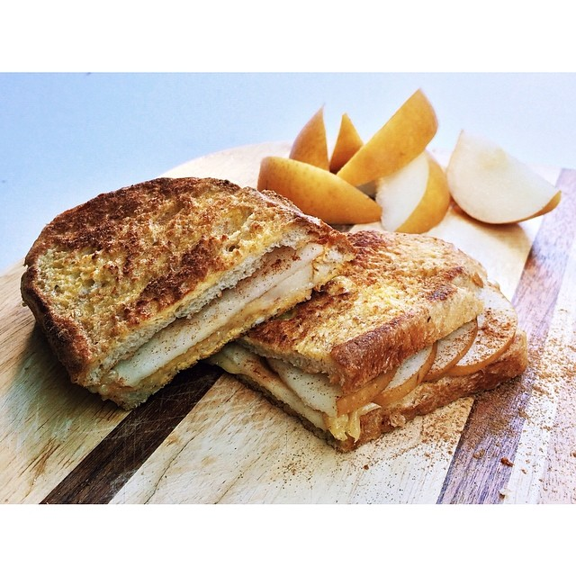 French Toast Grilled Cheddar Cheese Stuffed with Pear